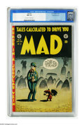 Golden Age (1938-1955):Humor, Mad #3 Gaines File pedigree (EC, 1953) CGC NM 9.4 Off-white to white pages. Editor Harvey Kurtzman drew the graveyard cover ...