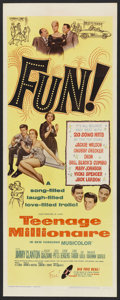 "Movie Posters:Rock and Roll, Teenage Millionaire (United Artists, 1961). Insert (14"" X 36"").Rock and Roll. ..."