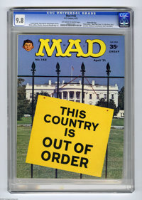 "Mad #142 Gaines File pedigree (EC, 1971) CGC NM/MT 9.8 Off-white to white pages. Photo cover. Parodies of ""West Sid..."