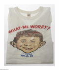 "Memorabilia:Mad, ""What Me Worry"" T-Shirt (1958). This rarity is the first T-shirtMad ever offered, first advertised on the inside back c..."