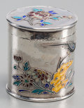 Asian:Chinese, A Chinese Silver and Enamel Cylindrical Pill Box, 20th century.Marks: (character marks to underside). 1-3/8 inches high x 1...