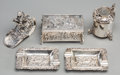 Silver Smalls, Five Various Silver Smalls: Box, Pepper, Ashtrays withSilver-Plated Claret Lid, late 19th-20th centuries. Marks:(various)... (Total: 5 Items)