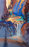 Works on Paper, Stephen Quiller (American, b. 1946). North Creek Falls, 2000. Watercolor and gouache on paper. 48 x 30 inches (121.9 x 7...