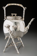 Silver Holloware, British, An Aesthetic Movement Silver-Plated Hot Water Kettle on Stand, late19th century. Marks: (effaced marks). 12-3/4 inches high...