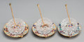 Decorative Arts, Continental, Three Russian Gilt Bronze, Enamel, and Cut-Glass Salt Cellars, late19th-early 20th century. 2-1/4 inches (5.7 cm) (spoon le... (Total:9 Items)