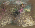 Fine Art - Work on Paper:Drawing, Edmund Blampied (British, 1886-1966). La Belles. Pastel andink on green paper. 9-1/2 x 12 inches (24.1 x 30.5 cm) (sigh...