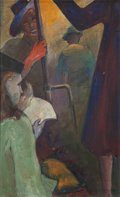 Fine Art - Painting, American:Modern  (1900 1949)  , H. Saltzman (American, 20th Century). On the Subway, 1941.Oil on canvasboard. 24 x 15 inches (61.0 x 38.1 cm). Signed a...