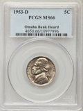 Jefferson Nickels, 1953-D 5C MS66 PCGS. Ex: Omaha Bank Hoard. PCGS Population: (320/3). NGC Census: (370/21). Mintage 59,878,600....