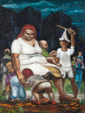 Fine Art - Painting, American:Modern  (1900 1949)  , Albert Pels (American, 1910-1998). Motherhood in the City.Oil on canvas laid on board. 17-1/2 x 13-1/2 inches (44.5 x 3...