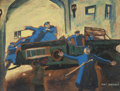 Fine Art - Painting, American:Modern  (1900 1949)  , Bert Danziger (American, 20th Century). Police Directing FireTruck. Gouache on cardboard. 21 x 27 inches (53.3 x 68.6 c...