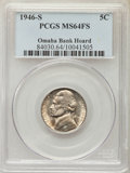 Jefferson Nickels, 1946-S 5C MS64 Full Steps PCGS. Ex: Omaha Bank Hoard. PCGS Population: (73/186). NGC Census: (0/1)....