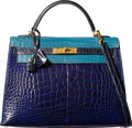 Luxury Accessories:Bags, Hermes 32cm Special Order Shiny Blue Saphir, Blue Jean & BlueMarine Alligator Sellier Kelly Bag with Gold Hardware. DSqu...