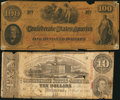 Confederate Notes:Group Lots, T41 $100 1862;. T59 $10 1863.. ... (Total: 2 notes)