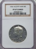 Proof Kennedy Half Dollars: , 1964 50C Accented Hair PR67 Cameo NGC. NGC Census: (467/265). PCGS Population: (300/123). ...