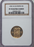 Modern Issues, 1992-W $5 Olympic Gold Five Dollar PR70 Ultra Cameo NGC. NGC Census: (2570). PCGS Population: (297)....