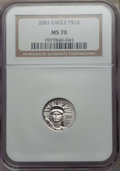 Modern Bullion Coins, 2001 $10 Tenth-Ounce Platinum Eagle MS70 NGC. NGC Census: (1083). PCGS Population: (20)....