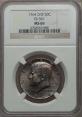 Kennedy Half Dollars, 1964-D/D 50C Repunched Mintmark, FS-501 MS66 NGC. PCGS Population:(4/0). Mintage 156,205,440....