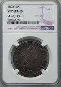 Early Half Dollars: , 1803 50C -- Scratched -- NGC Details. VF. NGC Census: (18/191).PCGS Population: (49/379). CDN: $650 Whsle. Bid for problem...
