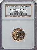 1991-W $5 Mount Rushmore Silver Dollar PR70 Ultra Cameo NGC. NGC Census: (1724). PCGS Population: (375). Mintage 726,031...
