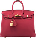 "Luxury Accessories:Bags, Hermes 25cm Rouge Grenat Togo Leather Birkin Bag with GoldHardware. X, 2016. Pristine Condition. 10"" Width x8"" W..."