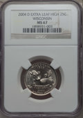 Statehood Quarters, 2004-D 25C Wisconsin, Extra Leaf High, MS67 NGC. NGC Census: (1/0).PCGS Population: (2/0). ...