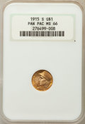 Commemorative Gold, 1915-S G$1 Panama-Pacific Gold Dollar MS66 NGC. NGC Census:(536/66). PCGS Population: (802/67). CDN: $1,550 Whsle. Bid for...