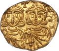 Ancients:Byzantine, Ancients: Constantine V (AD 741-755), with Leo IV. AV solidus (3.88gm). NGC MS 3/5 - 5/5....
