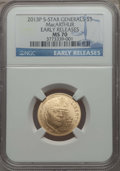 Modern Issues, 2013-P $5 Five-Star Generals Gold Five Dollar, First Strike, MS70 NGC. NGC Census: (0). PCGS Population: (115). ...