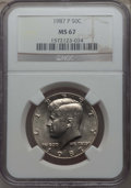 Kennedy Half Dollars, 1987-P 50C MS67 NGC. NGC Census: (71/0). PCGS Population: (92/1)....