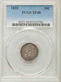 Bust Dimes: , 1833 10C XF40 PCGS. PCGS Population: (46/330). NGC Census:(19/244). CDN: $220 Whsle. Bid for problem-free NGC/PCGS XF40. M...