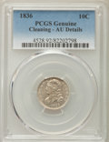 Bust Dimes, 1836 10C -- Cleaning -- PCGS Genuine. AU Details. NGC Census:(4/175). PCGS Population: (24/189). CDN: $360 Whsle. Bid for ...