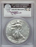 Modern Bullion Coins, 2011-S $1 Silver Eagle, 25th Anniversary, First Strike, Mercanti Signature MS70 PCGS. PCGS Population: (8194). NGC Census: ...