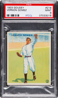 Baseball Cards:Singles (1930-1939), 1933 Goudey Vernon Gomez #216 PSA Mint 9 - Pop Three, NoneHigher....