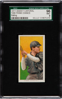 1909-11 T206 Sweet Caporal Frank Chance (Batting) SGC 96 Mint 9 - Pop One, The Highest Graded Example
