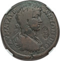 Ancients:Roman Provincial , Ancients: LYDIA. Hypaepa. Caracalla (198-217 AD). Æ 34mm. NGCChoice Fine, countermark....