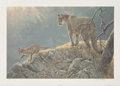 Fine Art - Work on Paper:Print, Robert McLellan Bateman (Canadian, b. 1930). Excursion - Cougar and Kits, 1997. Offset lithograph in colors. 25-3/4 x 36...