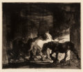 Works on Paper, Edmund Blampied (British, 1886-1966). Group of Four Works . One charcoal on paper, three etchings. 8 x 6 inches (20.3 x ... (Total: 4 Items)