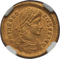 Ancients:Roman Imperial, Ancients: Theodosius I the Great (AD 379-395). AV solidus (4.45 gm). NGC Choice AU 5/5 - 2/5....