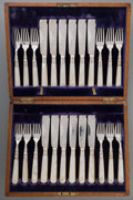 Silver Flatware, British:Flatware, A Cased Twenty-Four Piece English Silver and Mother-of-Pearl DesertService, Sheffield, England, circa 1904. Marks: (lion pa... (Total:24 Items)