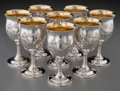 Silver Holloware, American:Wine Goblet, Eight Reed & Barton Francis I Pattern Partial GiltSilver Goblets, Taunton, Massachusetts, 20th century. Marks: ...(Total: 8 Items)