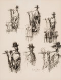 Fine Art - Work on Paper:Drawing, David Pryor Adickes (American, b. 1927). Untitled. Ink onpaper. 10-1/4 x 7-3/4 inches (26 x 19.7 cm) (sight). Signed lo...