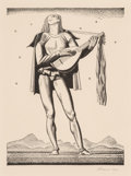 Prints, Rockwell Kent (American, 1882-1971). Troubadour from The complete works of William Shakespeare, 1936. Lithograph. 8-1/4 ...