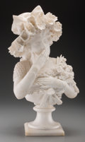 Decorative Arts, Continental, An Italian Carved Carrera Marble Stile Floreale Bust: Woman withFlowers, circa 1900. 22-3/4 inches high (57.8 c...