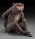 Asian:Japanese, A Japanese Polychrome Ceramic Snow Monkey. Marks: (incisedsignature). 10-1/4 inches high (26.0 cm). PROPERTY FROM THE EST...
