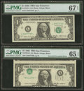 Error Notes:Inverted Third Printings, Fr. 1913-L $1 1985 Federal Reserve Notes. Two Consecutive Examples.PMG Gem Uncirculated 65 EPQ-Superb Gem Unc 67 EPQ.. ... (Total: 2notes)