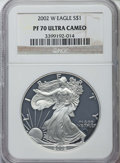 Modern Bullion Coins, 2002-W $1 Silver Eagle PR70 Ultra Cameo NGC. NGC Census: (4487). PCGS Population: (2417). ...