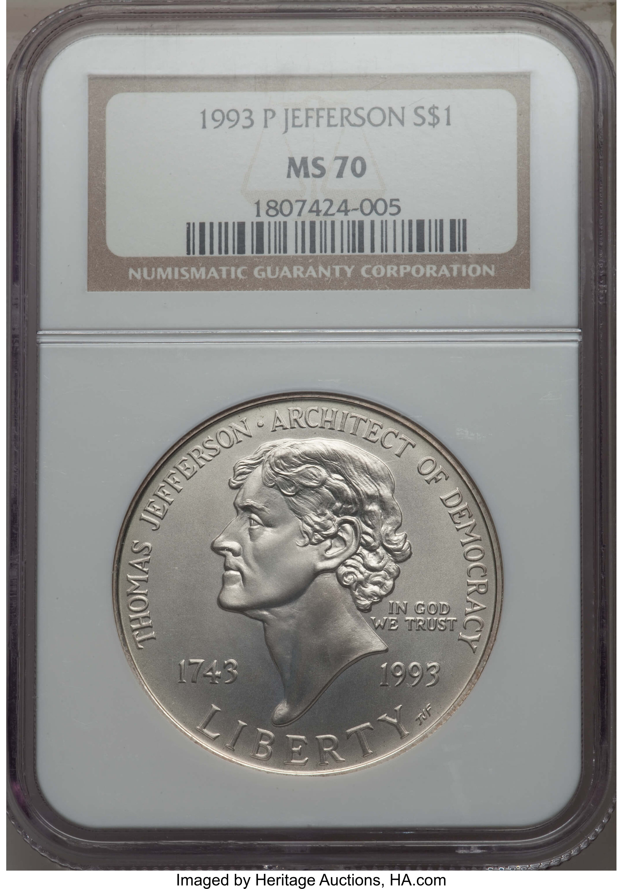 MS70 NGC 1993-P JEFFERSON silver $1