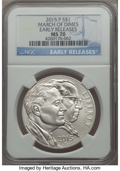 2015-P $1 March of Dime Silver Dollar, Early Releases, MS70
