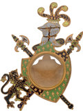 Timepieces:Other , Unusual Enamel & Brass Pocket Watch Stand, circa 1890. ...