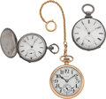 Timepieces:Pocket (pre 1900) , Elgin 16 Size & Two Silver Key Wind Watches. ... (Total: 3Items)